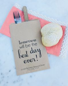 - Tomorrow will be the Best Day Ever - Dinner Bags - Cus. - Tomorrow will be the Best Day Ever - Dinner Bags - Custom Printed on Kraft Brown Paper - Fabric Crafts Rehearsal Dinner Decorations, Rehearsal Dinners, Shrimp Boil Party, Frame Purse, Custom Bags, Brown Paper, Dinner Menu, Favor Bags, Best Day Ever