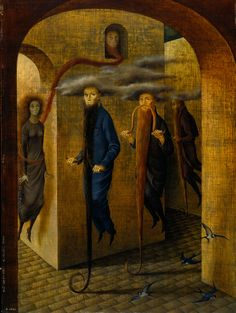 Locomoción Capilar (Hairy Locomotion) Remedios Varo 1959 Description by Remedios Varo addressed to her brother, Dr. Rodrigo Varo: These Men are detectives disguised so as to go unnoticed; their beards also serve as their means of locomotion. The man looking out the window uses his beard to kidnap the poor, frightened young girl who is just around the corner.