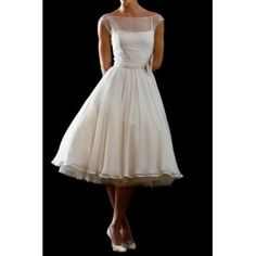 Elegant Vintage Bateau Neckline Chiffon Bridal Dress $250 (add fabric covered buttons, ask about neckline and back, no decoration on sash, use extra brooch)