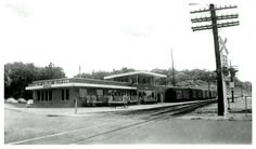 Chicago Great Western relocated at SW 9th Street crossing, just south of MacRae park, early 1950's