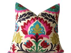 Pillows, Throw Pillows, Decorative Throw Pillows Designer Fabric Pink, Red, Green, Turquoise Pillows, Floral  Pillows Multi Color Pillows by DEKOWE on Etsy https://www.etsy.com/listing/191549381/pillows-throw-pillows-decorative-throw
