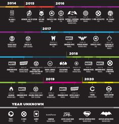 "Superhero (movies) For Days ...  ComicsAlliance has published this helpful future timeline of all superhero movies that will come out till 2020. It's a list of all the confirmed ones—its missing ""one or two movies from Marvel"" in 2019, apparently—and of course dates may change, but this is pretty much all of it."