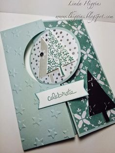 Stampin' Up! All is Calm, Festival of Trees and the Circle Thinlit Die, flip card Christmas Paper Crafts, Christmas Tree Cards, Christmas Mom, Holiday Cards, Christmas Cards, Fancy Fold Cards, Folded Cards, Card Making Inspiration, Making Ideas