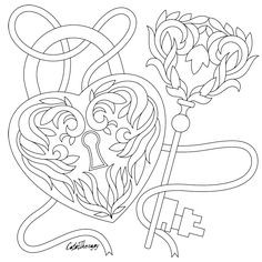 Lock & Key Coloring Page Heart Coloring Pages, Pattern Coloring Pages, Adult Coloring Book Pages, Printable Adult Coloring Pages, Colouring Pages, Coloring Sheets, Coloring Books, Color Fly, Free Adult Coloring