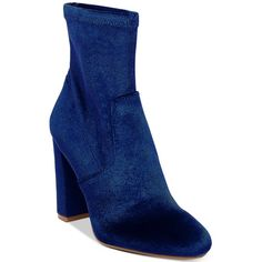 Steve Madden Women's Brisk Block-Heel Sock Booties (€93) ❤ liked on Polyvore featuring shoes, boots, ankle booties, navy velvet, steve-madden ankle booties, steve madden boots, block heel booties, velvet booties and block heel boots