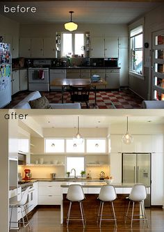Before & After Kitchen. Great reno, the lighting certainly did help to brighten up the space.