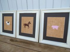 Farm Animal Prints on Burlap 8x10 / Kid's Wall Art / Nursery Decor / Primitive Wall Art. $30.00, via Etsy.