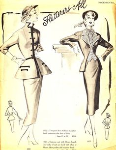 Indeed these are wonderfully flattering early 50s suit styles. #vintage #fashion #1950s