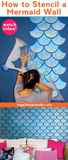 Moroccan Scallops Wall Stencil How to Stencil a Metallic Mermaid Fish Scales Wall - DIY Accent Wall Art for Girls Room or Modern Teen Room - Royal Design Studio Scallop Pattern Wall Stencils Modern Teen Room, Modern Wall, Mermaid Room Decor, Mermaid Wall Art, Little Mermaid Bedroom, Mermaid Decorations, Room Decorations, Diy Tapete, Fresh To Go