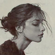 illustration, art, and draw image L'art Du Portrait, Portrait Sketches, Digital Portrait, Pencil Portrait, Art Sketches, Art Drawings, Figure Drawing, Painting & Drawing, Profile Photo