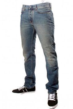 Men's Stone Island Regular Tapered Slim Fit Jeans in Indigo Blue