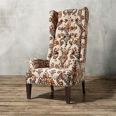 """Bastian Upholstered Chair in Dyron Clay   Arhaus Furniture   31""""w x 41""""d x 58""""h   stocked in ''Dyron Clay'' Moroccan-inspired damask, shown   choose from 20 finishes & 600 fabrics, 150 leathers   handmade in America   $3,199.00 retail as shown."""