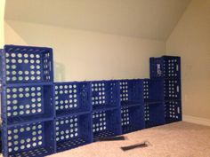 Zip tie plastic crates together for storage. Using mine to build a closet. Milk Crate Shelves, Toy Storage Shelves, Diy Storage, Shoe Storage, Garage Storage, Record Storage, Cubbies, Toy Room Organization, Plastic Crates