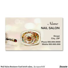 Nail Salon Business Card 2016 calendar