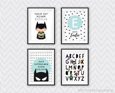 **4-er SET Kinderzimmer Bilder Superhelden**    4 Kunstdrucke DIN A4 (ca. 210 x 297 mm)        Unsere Kinderzimmerbilder eignen sich super als Geschenk zur Geburt, zum Geburtstag oder zur Taufe!...