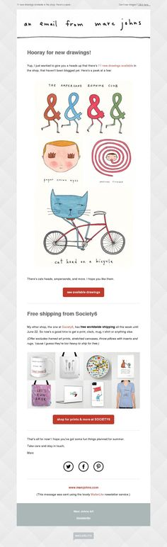 Marc Johns newsletter made with MailerLite
