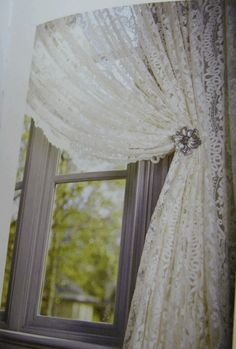 Lace curtain window treatments to cover the stock room door. Also placed over windows with already built in blinds.