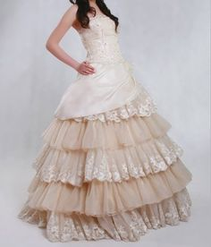 Kelsey Anne Godwin, here's a dress with the off white colors we were talkin about. I don't like the whole dress... It kind of looks like a prom dress, but I like the off white lace!