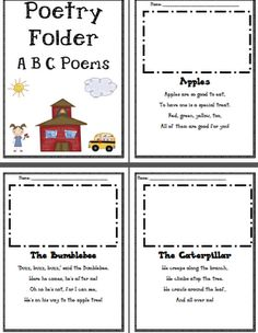 FREE Alphabet poems for Poetry Folders