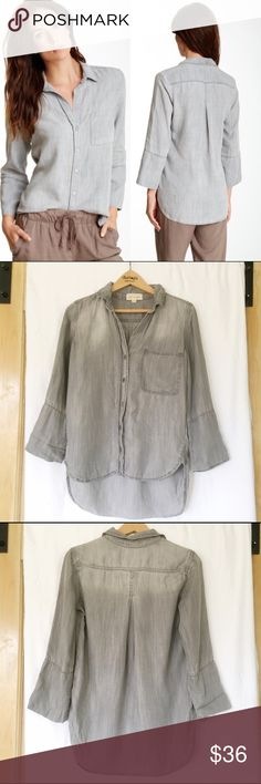 Anthropologie Cloth & Stone Shirt Tail Button Down Like new. Chest is 18. Front length is 23.  - Spread collar - Button front closure - Long sleeves - Inner pocket - Hi-lo hem Fiber Content 100% tencel Anthropologie Tops