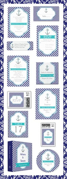 #Navyblue, #white #stripes with #anchor and #aqua #banner and #frame #nautical #wedding #customized #invitations and matching #stationery. #weddings, #bride, #invites, #pattern, #turquoise See more designs http://www.zazzle.com/weddings_?rf=238228936251904937=zBookmarklet