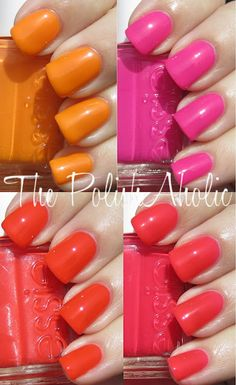 essie summer 2012 poopy-razzi collection: action (traffic cone neon orange), bazooka (orange-ish red), camera- my favorite (coral), lights (bright pink).
