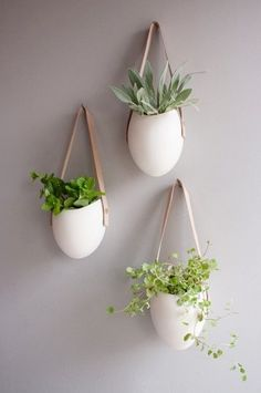 Porcelain and Leather Hanging Plants Containers