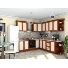 Кухня Контур яблоня темная + дуб молочный (2.4х2,5 м) Kitchen Cabinets, Table, Furniture, Home Decor, Kitchen Maid Cabinets, Tables, Home Furnishings, Interior Design, Home Interiors