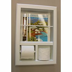 Wall insert toilet paper holder cup holder and magazine rack in the bathroom home design for Recessed in the wall bathroom magazine rack