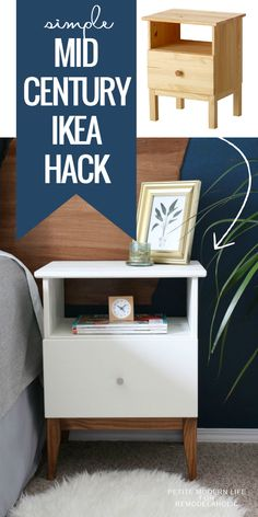 Make IKEA look like classic mid century with this easy TARVA nighstand hack. - Ikea DIY - The best IKEA hacks all in one place Furniture Projects, Furniture Makeover, Home Projects, Ikea Furniture Hacks, Furniture Movers, Furniture Storage, Cheap Furniture, Bedside Table Makeover, Ikea Bedroom Furniture