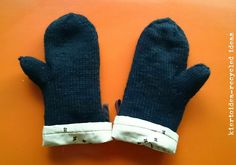 kiertoidea - recycled ideas: oven mittens & knitted mittens for cold weather!