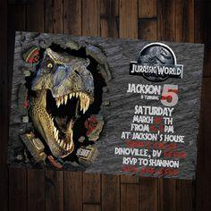 Dinosaur Invitation - Jurassic world invitation - dinosaur birthday invitation - jurassic world invitation - jurassic world birthday party by ALTCustomDesigns on Etsy