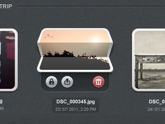 Contextual toolbar - nice UI detail.  Photos fold up when fingers are slid on them, (bottom to top), to show options.