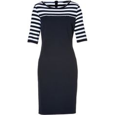 PIAZZA SEMPIONE Cotton Dress with Stripes in Navy ($535) ❤ liked on Polyvore