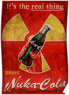 More Fallout fan art. Based on a Coca Cola ad. Buy the print here High res version available as premium content Fallout 3, Fallout Nuka Cola, Fallout Posters, Fallout Cosplay, Fallout Vault, Nuka Cola Poster, Video Game Posters, Video Game Art, Video Games