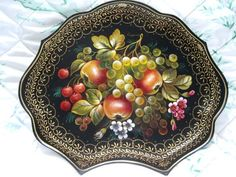 Unusual shaped hand-painted cherries, apples, flowers Russian tole tray
