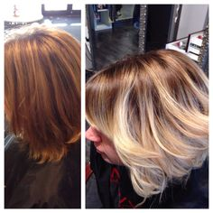 Before and after ombré