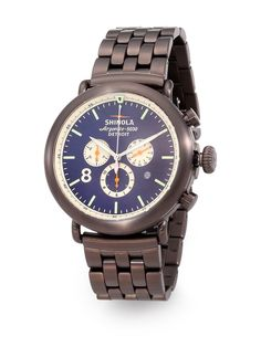 Shinola - Runwell Contrast Chrono in Gunmetal with Bracelet and Blue Dial