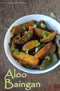 Aloo baingan recipe with step by step photos . Roti-Sabzi-dal is an everyday fare at our place for dinner and as I always mentioned we n. Baigan Recipes, Aloo Recipes, Parmesan Roasted Cauliflower, Indian Curry, Vegetable Dishes, Chicken Wings, Indian Food Recipes, Vegetarian, Eggplants