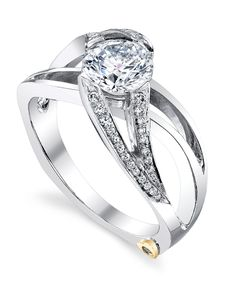 The Rejoice engagement ring contains 45 diamonds, totaling 0.14ctw. Center stone sold separately, not included in price.The Rejoice wedding band contains 20 diamonds, totaling 0.10ctw.