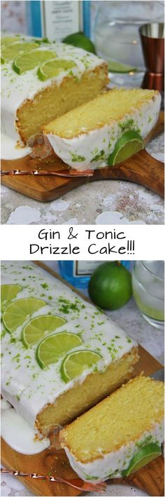 Gin and tonic drizzle cake Gin Recipes, Sweet Recipes, Baking Recipes, Cake Recipes, Recipies, Cocktail Recipes, Gin And Tonic Cupcakes, Janes Patisserie, Drizzle Cake