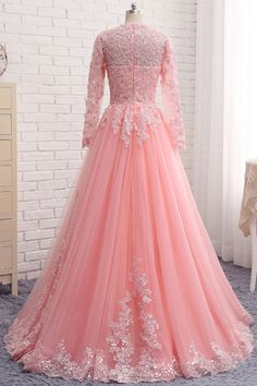 Pink lace customize unique long formal prom dress with sleeves from Sweetheart Dress Pakistani Formal Dresses, Indian Gowns Dresses, Prom Dresses With Sleeves, Cheap Prom Dresses, Evening Dresses, Indian Wedding Gowns, Wedding Dresses, Designer Party Wear Dresses, Mode Hijab
