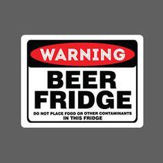 Beer-Fridge-Sticker-vinyl-decal-car-funny-no-food-contaminants-warning-sign-joke