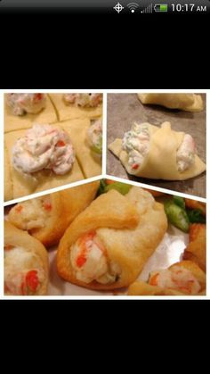 Crab & cream cheese snacks 1-8 oz. tube crescent roll dough 3 oz. cream cheese, softened 1/4 cup mayonnaise 3/4 cup cooked crabmeat, chopped 2 green onions, chopped 1/8- 1/4 teaspoon cayenne pepper salt and pepper, to taste Mix, roll up in cresent rolls. Bake 10-15 min on 375.