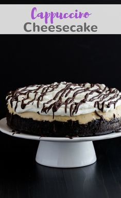 This cappuccino cheesecake sits on a thick, buttery chocolate cookie crust. Why drink a cappuccino when you can eat it with cheesecake?! #cappuccino #cheesecake #dessert #baking via @introvertbaker