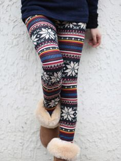 I've been wanting these, maybe one day! [$8.99] Multi Color Cotton Christmas Pattern Slim Woman's Leggings
