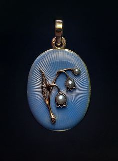 An Antique Faberge Lily of The Valley Guilloche Enamel Locket, c. 1899 - 1903