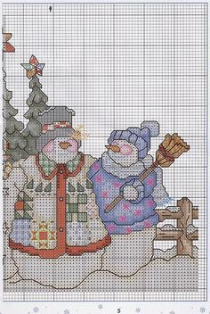 Cross stitch *♥* Christmas Three Snowmen 2