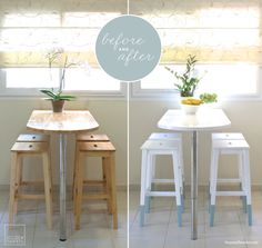 Mini kitchen makeover: paint-dipped IKEA chairs That stylish decoration type, which generates warm and personal Small Kitchen Tables, Mini Kitchen, Kitchen Nook, Small Kitchens, Bar Kitchen, Kitchen Decor, Square Kitchen, Kitchen Craft, Kitchen Stools