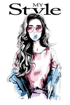 Female Portrait, Female Art, Woman Portrait, Cheetah Print Wallpaper, Chanel Art, Hair Illustration, Hair Sketch, Stylish Girls Photos, Digital Art Girl